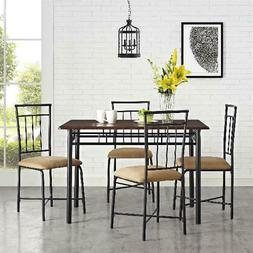 5 Piece Dining Table and 4 Chairs Set Upholstered Seat Home