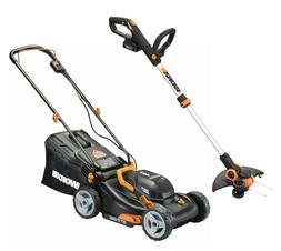 """WORX WG911 2X20V 17"""" Lawn Mower Powershare with 12"""" Cordless"""